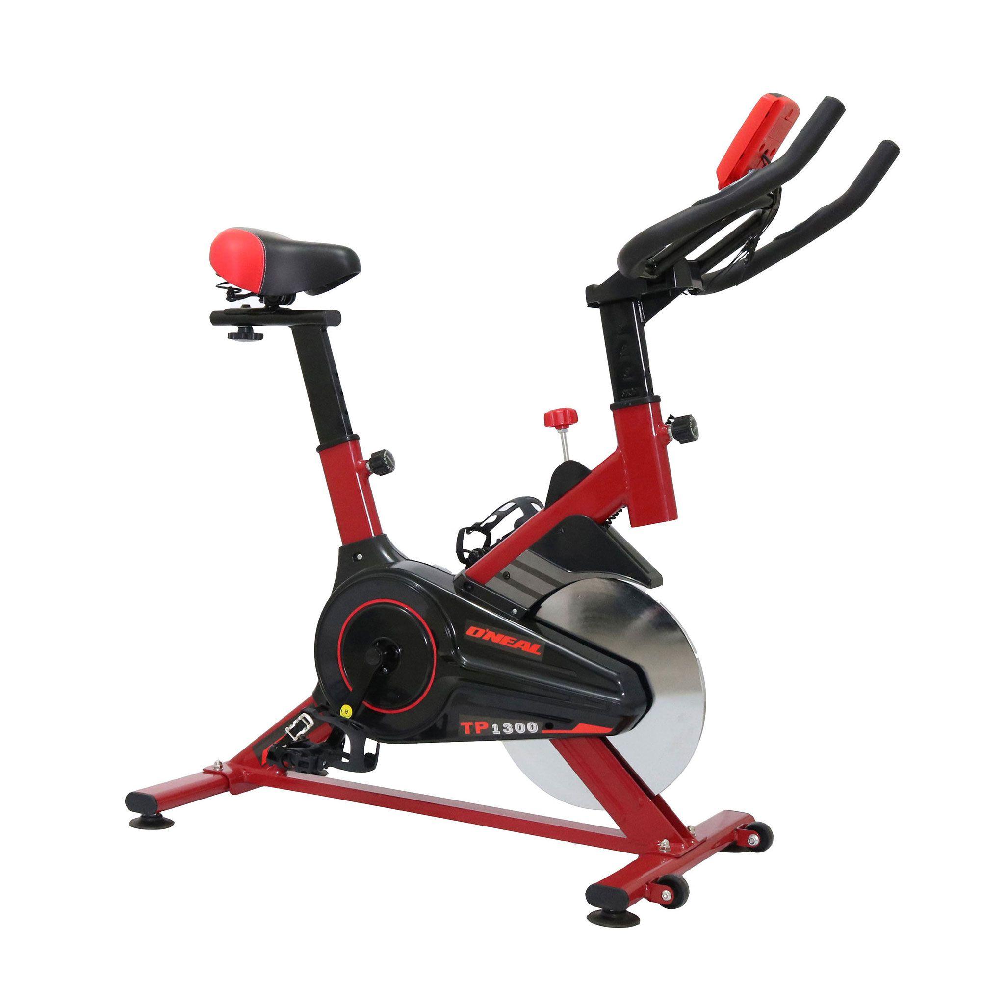 Bicicleta ergometrica spinning vermelha 90kg oneal tp1300