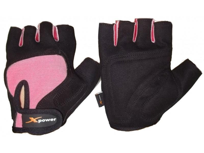 Luvas academia camurça musculação xpower preto rosa M #7
