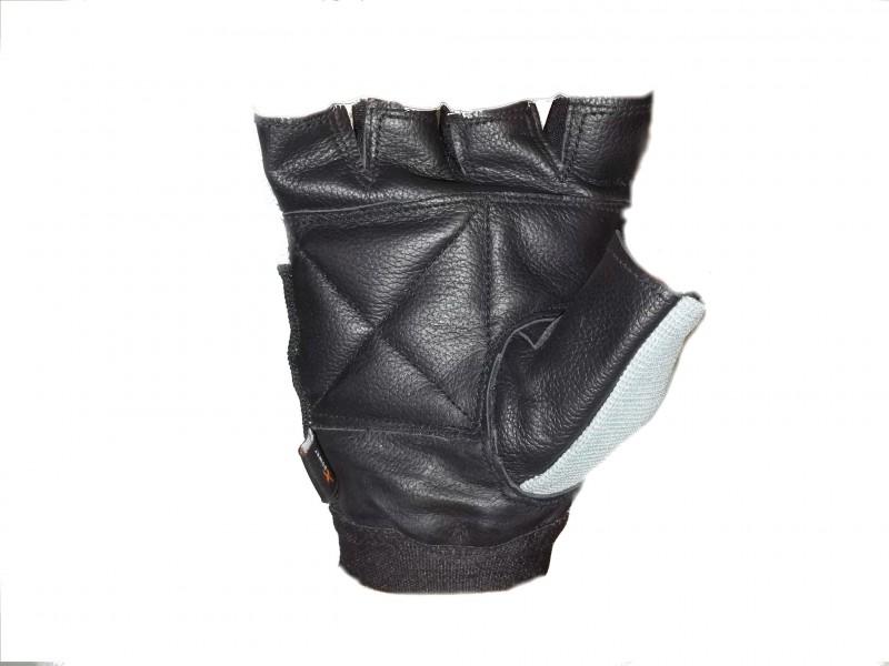 Luvas academia couro musculação xpower preto cinza M #2