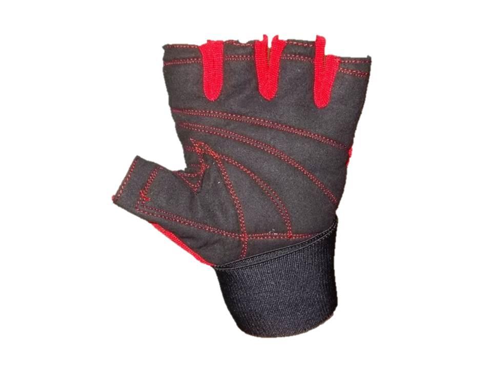 Luvas academia couro musculação red nose preto vermelho M #3