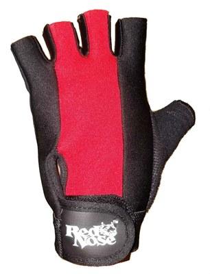 Luvas academia couro musculação red nose preto vermelho M #8