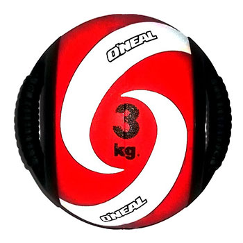 Medicine ball alça 3kg borracha vermelha unisex yoga oneal