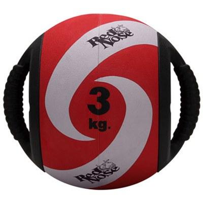 Medicine ball alça 3kg borracha vermelha unisex yoga rednose