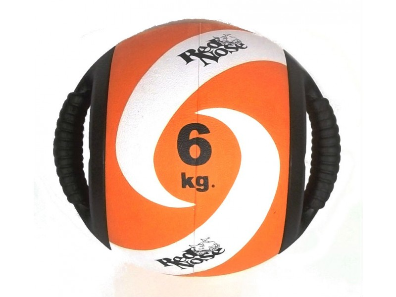 Medicine ball alça 6kg borracha laranja unisex yoga red nose