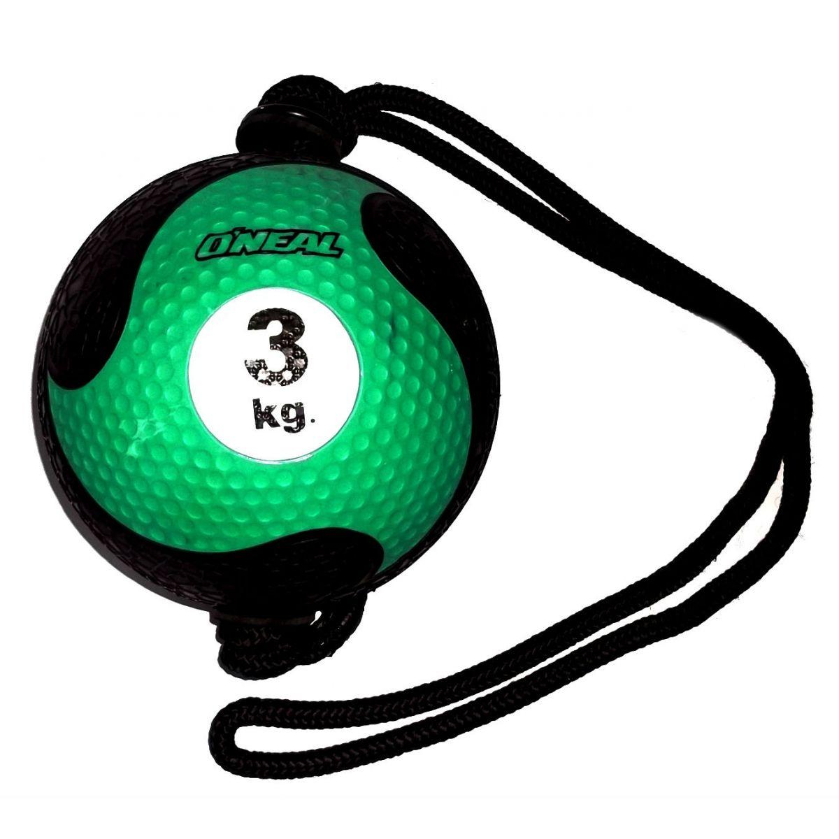 Medicine ball corda 3kg borracha verde unisex yoga oneal