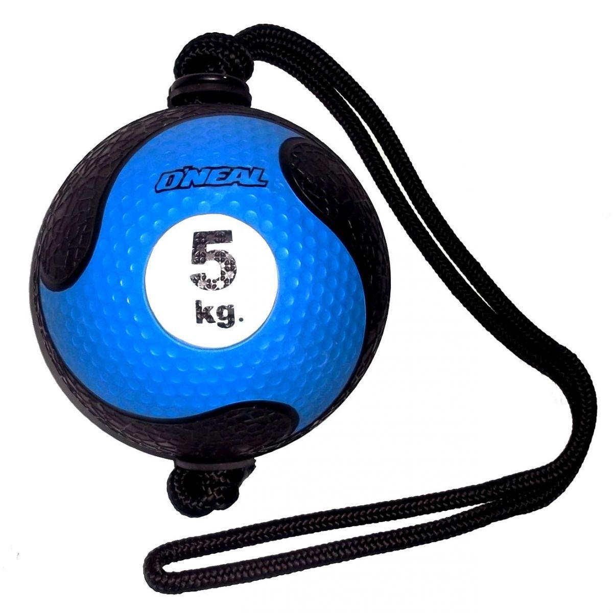 Medicine ball corda 5kg borracha azul unisex yoga oneal