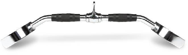 Puxador romano curvo 66cm ferro biceps triceps emborrachado