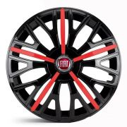 Jogo 4 Calota Triton Sport Aro 14 Preta / Vermelha Rodas Fiat 4x100 / 4x108 / 5x100 Universal