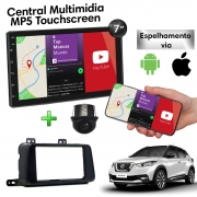 Central Multimidia com Moldura Nissan Kicks Mp5 Bluetooth Usb Touchscreen 7 Polegadas 2 Din Black Piano Atacado