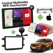 Central Multimidia com Moldura Renault Kwid Mp5 Bluetooth Usb Touchscreen 7 Polegadas 2 Din Poliparts