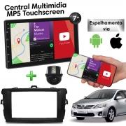 Central Multimidia com Moldura Toyota Corolla Mp5 Bluetooth Usb Touchscreen 7 Polegadas 2 Din 2008 a 2013 Poliparts