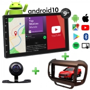 Central Multimídia Fiat Toro Muzik Android com Câmera 9 Polegadas 2 Din Moldura Marrom Ranch Poliparts