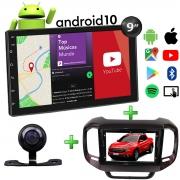 Central Multimídia Fiat Toro Muzik Android com Câmera 9 Polegadas 2 Din Moldura Vermelho Freedom Atacado Poliparts
