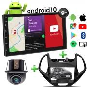 Central Multimídia Ford Novo Ka Muzik Android com Câmera de Ré 7 Polegadas 2 Din Moldura Black Piano Poliparts