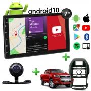 Central Multimídia Ford Ranger Muzik Android com Câmera de Ré 7 Polegadas 2 Din Moldura Poliparts