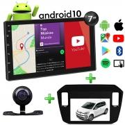 Central Multimídia Volkswagen UP Muzik Android com Câmera de Ré 7 Polegadas 2 Din 2017 a 2020 Moldura Black Piano Poliparts