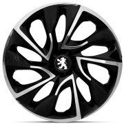 Jogo 4 Calota DS4 Aro 15 Black Chrome Rodas Peugeot 4x100 / 4x108 / 5x100 Universal