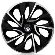 Jogo 4 Calota DS4 Aro 15 Black Chrome Rodas Renault 4x100 / 4x108 / 5x100 Universal