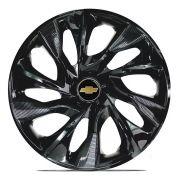 Jogo 4 Calota DS4 Black Aro 14 Rodas Chevrolet 4x100 / 4x108 / 5x100 Universal Gm