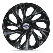 Jogo 4 Calota DS4 Black Aro 14 Rodas Ford 4x100 / 4x108 / 5x100 Universal