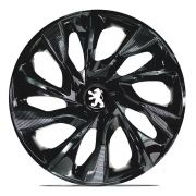 Jogo 4 Calota DS4 Black Aro 15 Rodas Peugeot 4x100 / 4x108 / 5x100 Universal