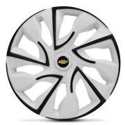 Jogo 4 Calota DS4 Black White Aro 14 Rodas Chevrolet 4x100 / 4x108 / 5x100 Universal Gm