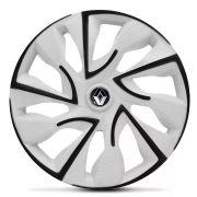 Jogo 4 Calota DS4 Black White Aro 14 Rodas Renault 4x100 / 4x108 / 5x100 Universal