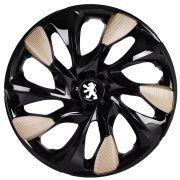 Jogo 4 Calota DS5 Aro 14 Black Gold Rodas Peugeot 4x100 / 4x108 / 5x100 Universal