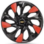 Jogo 4 Calota DS5 Aro 14 Black Red Rodas Chevrolet 4x100 / 4x108 / 5x100 Universal Gm