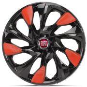 Jogo 4 Calota DS5 Aro 14 Black Red Rodas Fiat 4x100 / 4x108 / 5x100 Universal