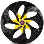 Jogo 4 Calota Evolution Black Yellow Aro 14 Rodas Fiat 4x100 / 4x108 / 5x100 Universal
