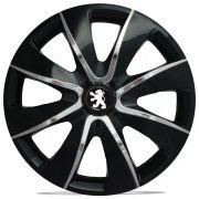 Jogo 4 Calota Prime Aro 13 Black Chrome Rodas Peugeot 4x100 / 4x108 / 5x100 Universal