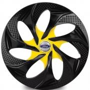Jogo de Calotas Ford Evolution Preto e Amarelo Aro 14 Universal Poliparts