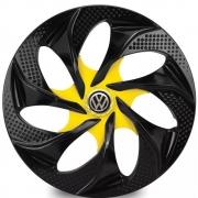 Jogo de Calotas Volkswagen Evolution Preto e Amarelo Aro 14 Universal Poliparts