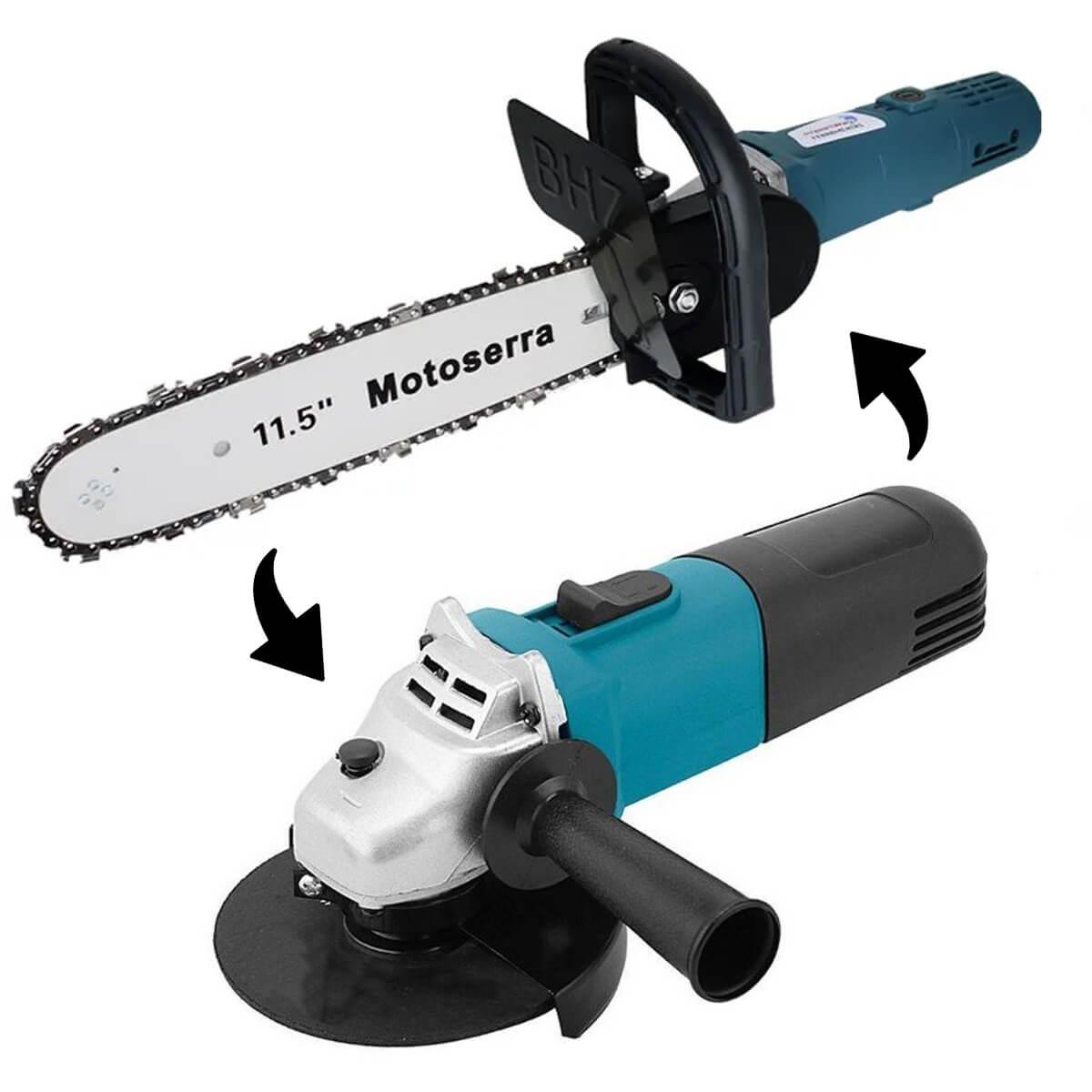 Adaptador para Esmerilhadeira Motosserra + Esmerilhadeira Lixadeira Angular para Madeira Parede Concreto 110V 4.1/2 115m