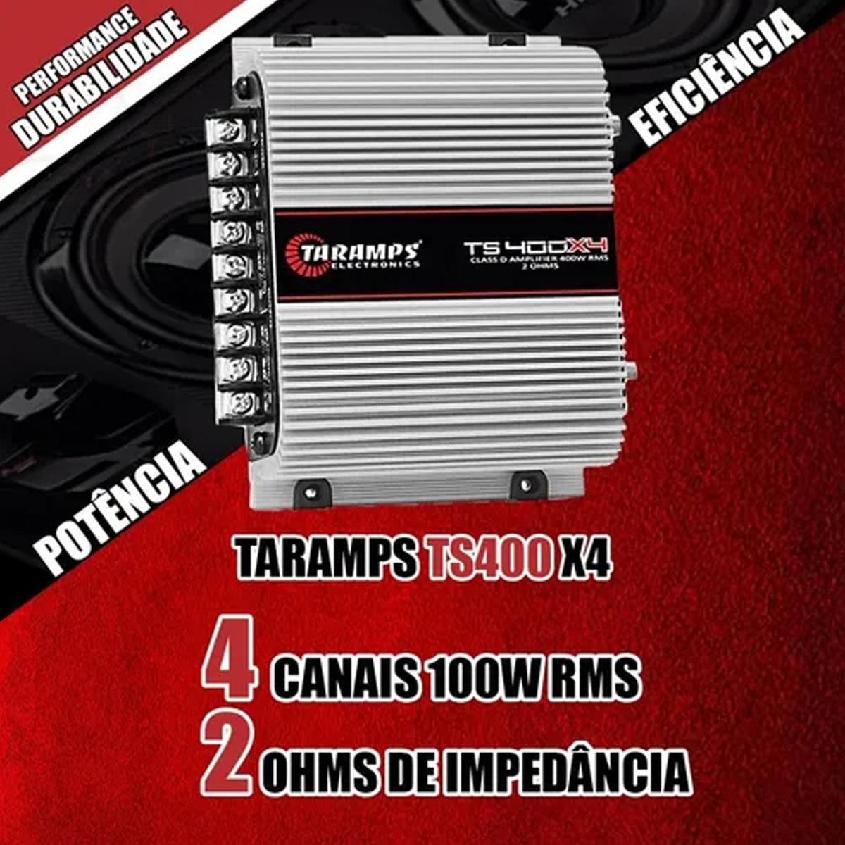 Amplificador Taramps TS 400X4 Som Automotivo 400Watts RMS Poliparts