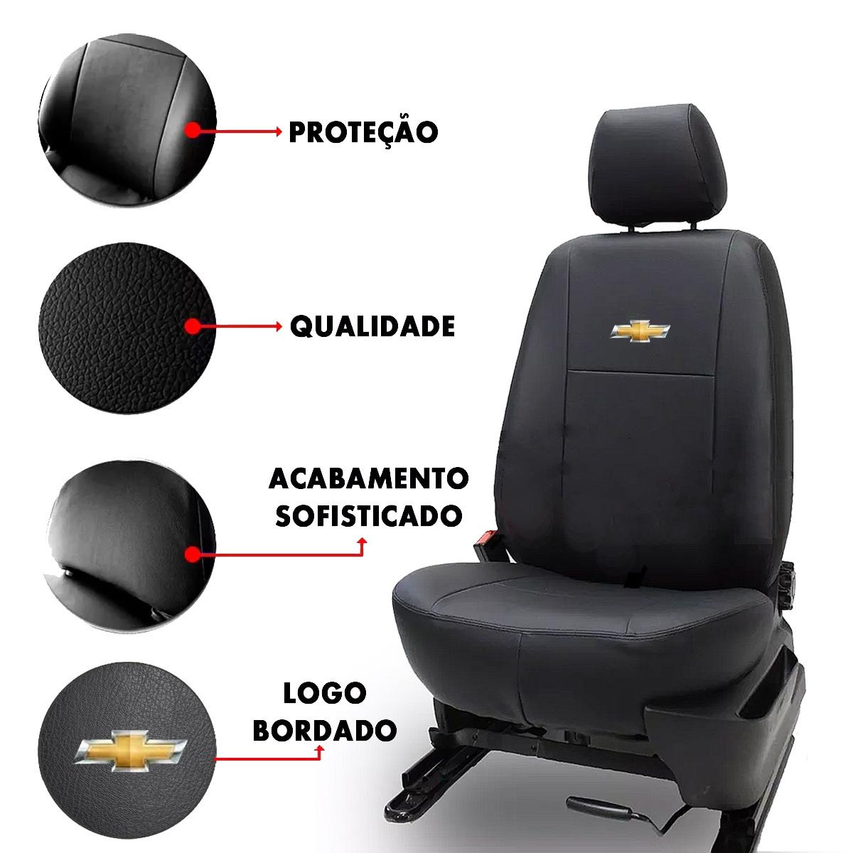 Capa de Banco Chevrolet Couro + Jogo de Tapete Borracha Logo Bordado Poliparts