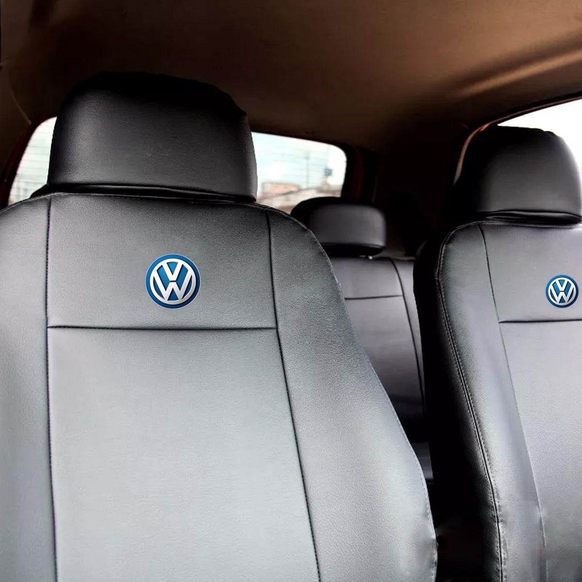 Capa de Banco Volkswagen Couro + Jogo Tapete Borracha Logo Bordado Poliparts