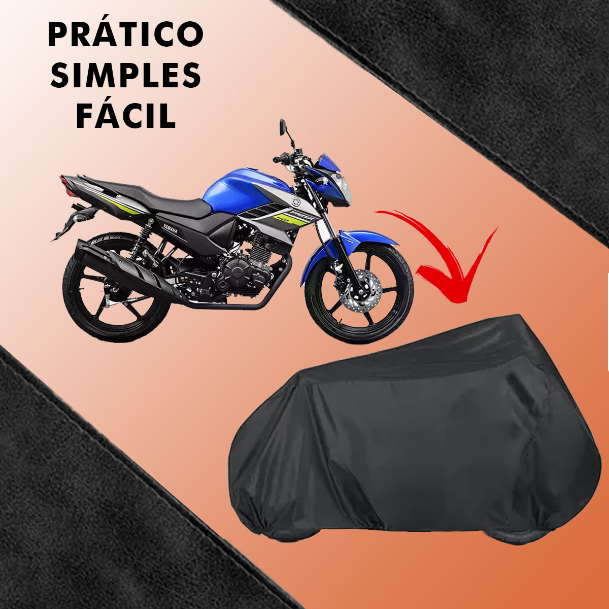 Capa de Moto Forrada Anti-UV Proteção Contra Chuva Vento Poeira Tamanho M Poliparts