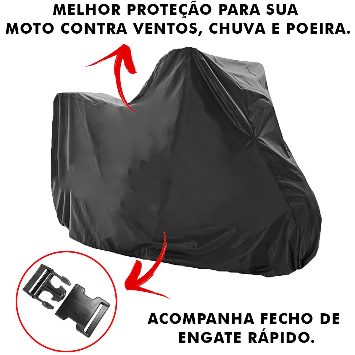 Capa de Moto Forrada Anti-UV Proteção Contra Chuva Vento Poeira Tamanho P Poliparts