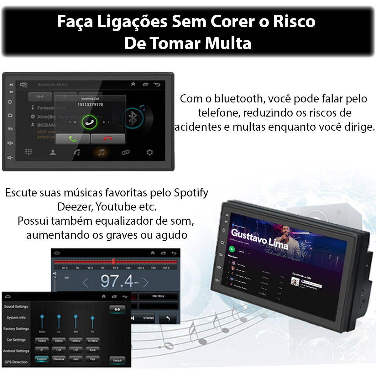 Central Multimídia Android 10 Muzik Gps Wifi Bluetooth 9 Polegadas 2 Din Poliparts