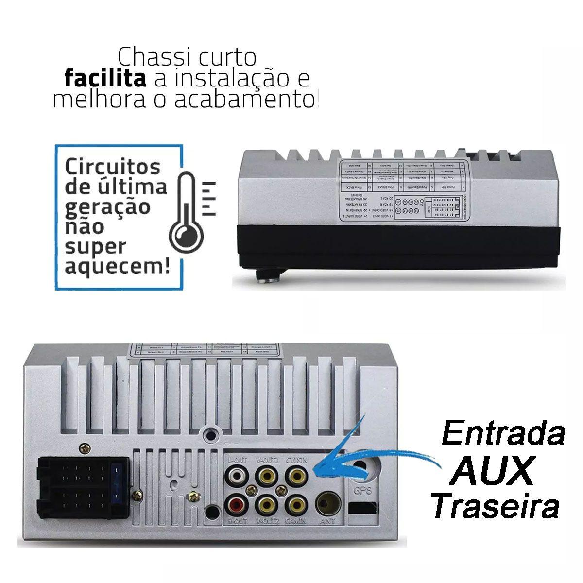 Central Multimídia Automotiva 7 Polegadas + Moldura Onix Cobalt Spin Prisma 2 Din Preta Chevrolet Gm