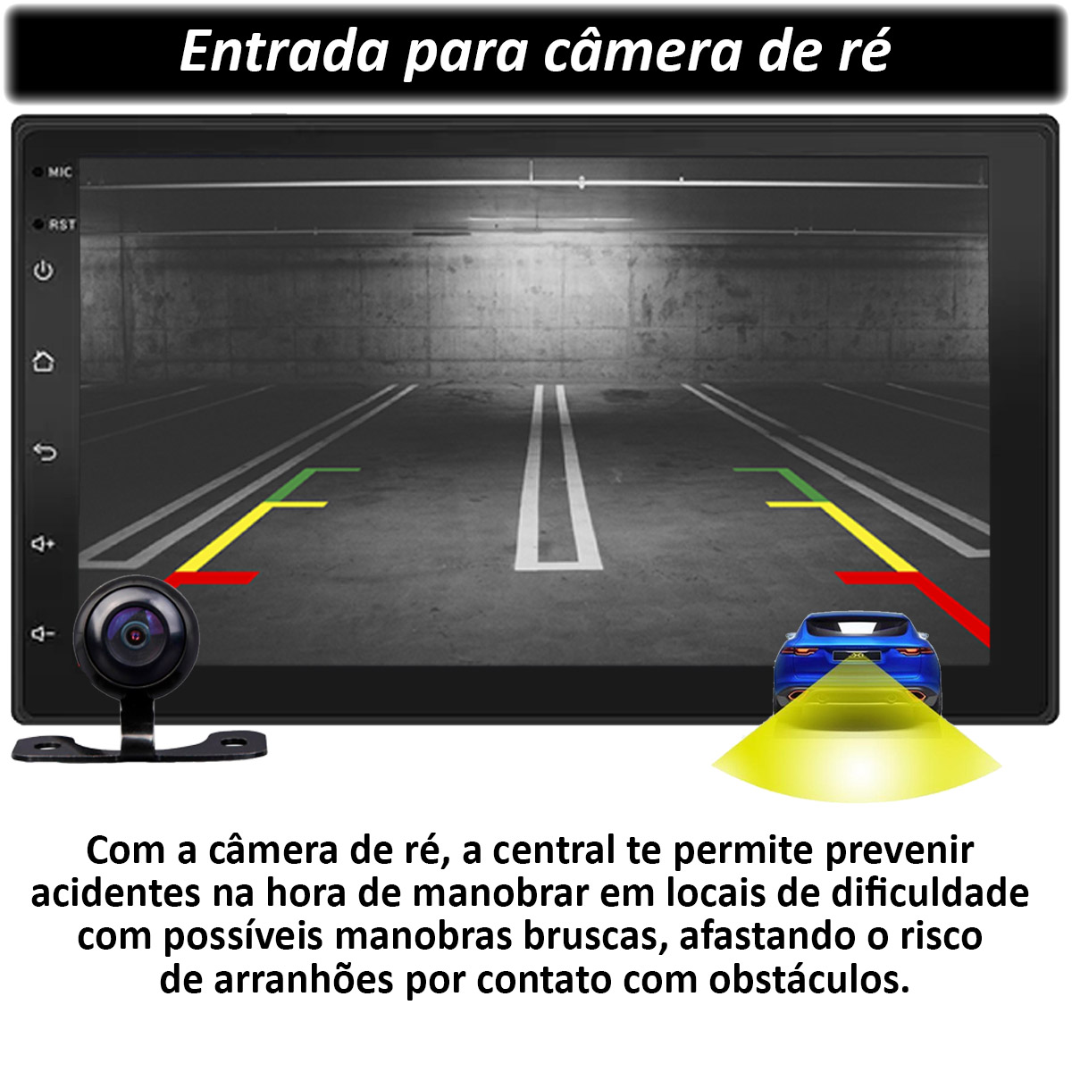 Central Multimídia BMW Series 3 Muzik Android com Câmera 7 Polegadas 2 Din Moldura Preta Atacado Poliparts