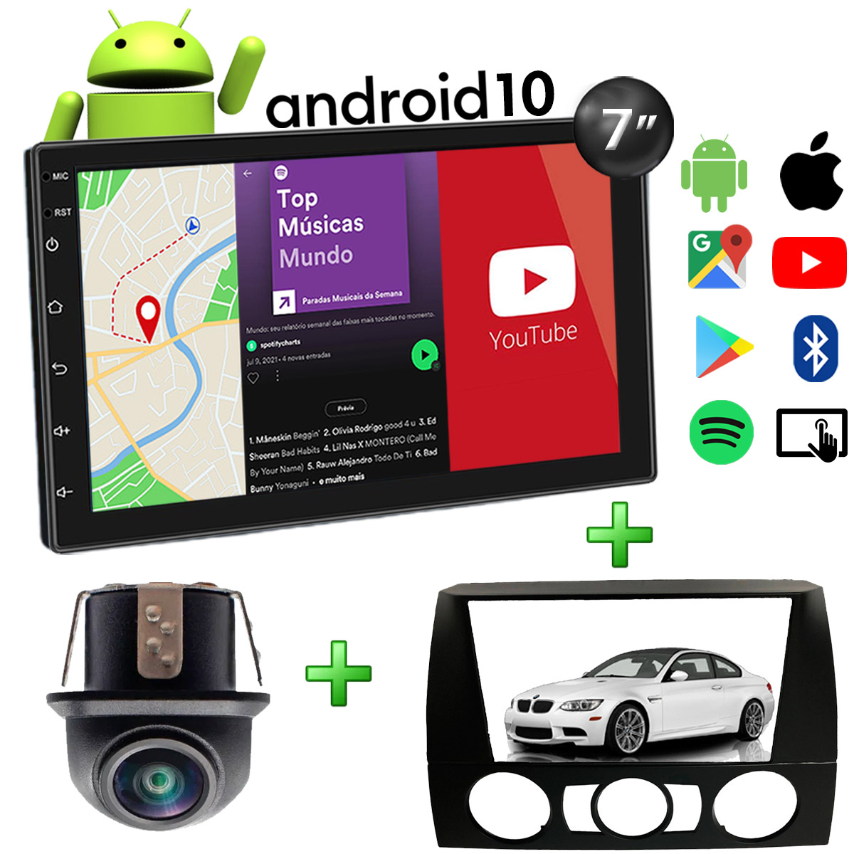 Central Multimídia BMW Series 3 Muzik Android com Câmera 7 Polegadas 2 Din Moldura Preta Poliparts