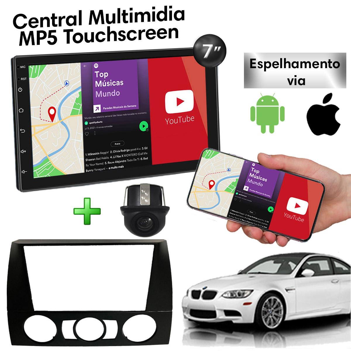 Central Multimidia com Moldura BMW Series 3 Mp5 Bluetooth Usb Touchscreen 7 Polegadas 2 Din Poliparts