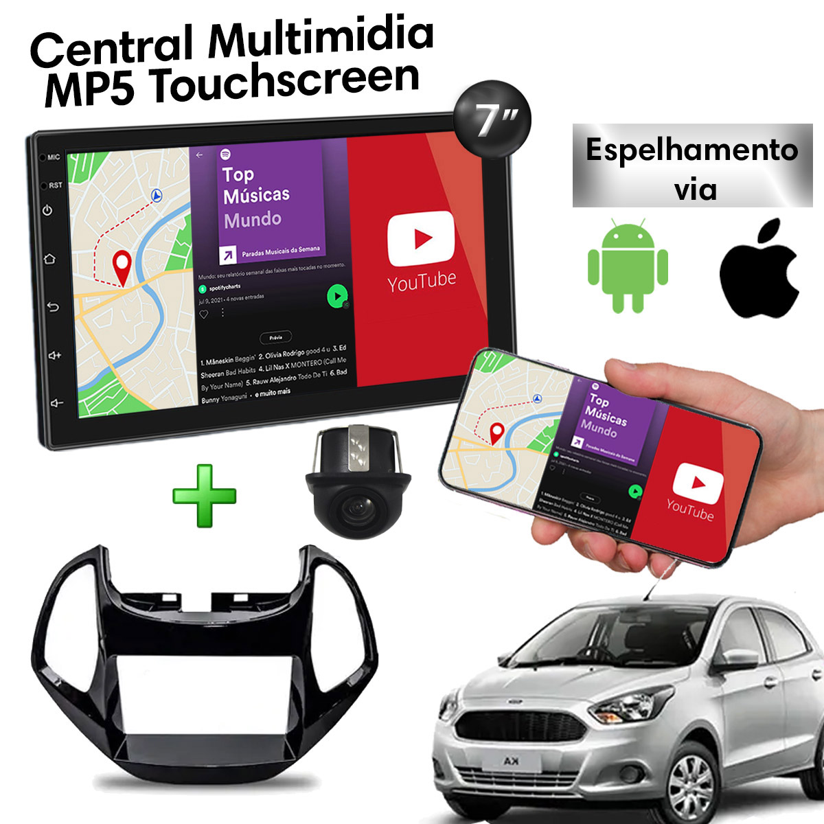 Central Multimidia com Moldura Ford Novo Ka Mp5 Bluetooth Usb Touchscreen 7 Polegadas 2 Din Black Piano Poliparts