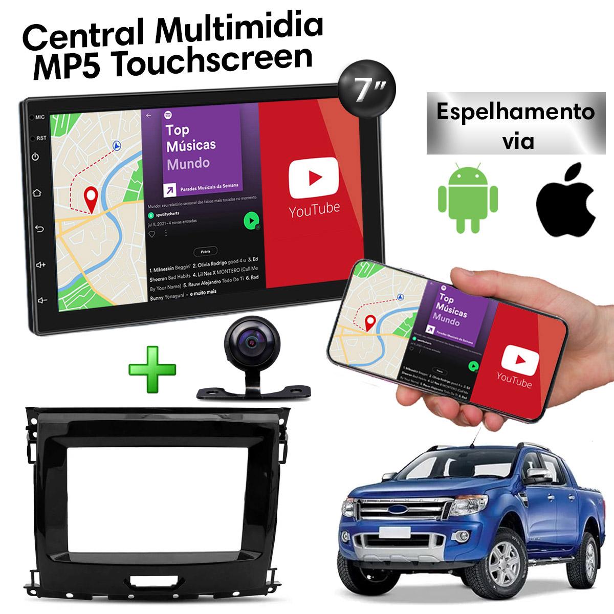 Central Multimidia com Moldura Ford Ranger Mp5 Bluetooth Usb Touchscreen 7 Polegadas 2 Din  Atacado