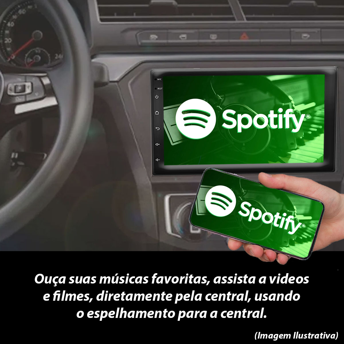 Central Multimídia com Moldura Honda Civic Mp5 Bluetooth Usb Touchscreen 7 Polegadas 2 Din 2007 a 2011 Poliparts