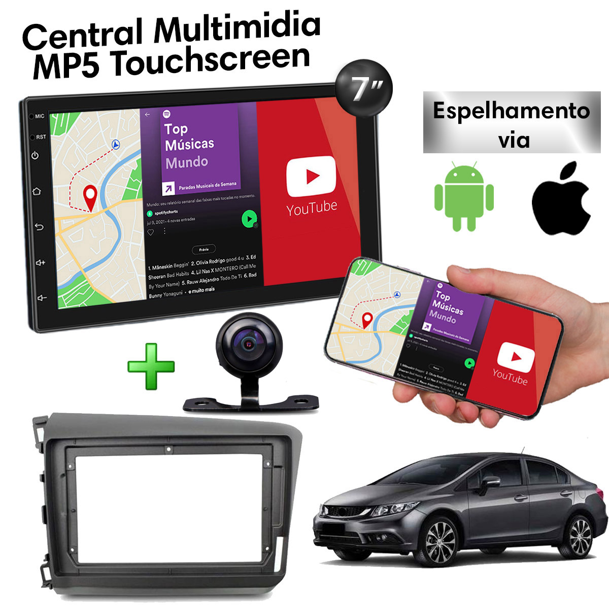 Central Multimídia com Moldura Honda Civic Mp5 Bluetooth Usb Touchscreen 7 Polegadas 2 Din 2012 a 2016 Poliparts