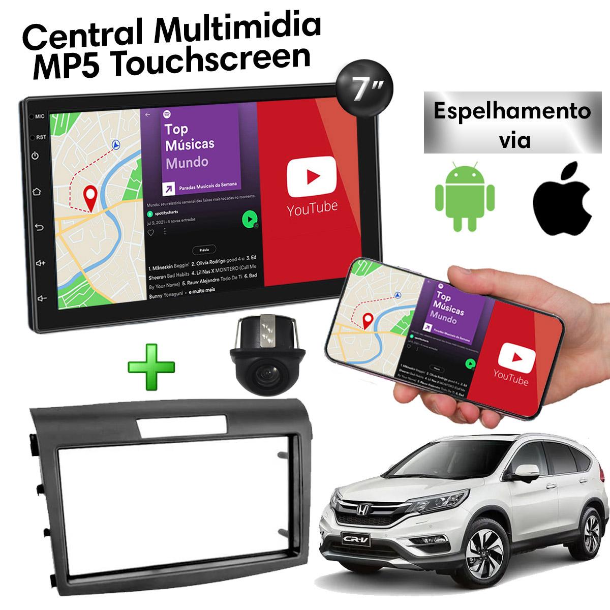 Central Multimídia com Moldura Honda CRV Mp5 Bluetooth Usb Touchscreen 7 Polegadas 2 Din 2012 a 2016 Atacado
